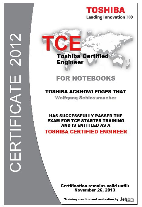 Toshiba Certified Engineer